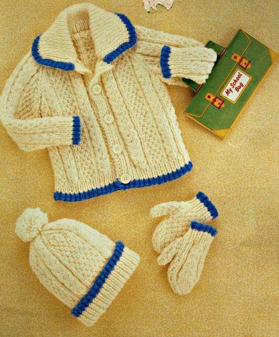 Aran Knitting Patterns Children Cardigan Hat and Mittens