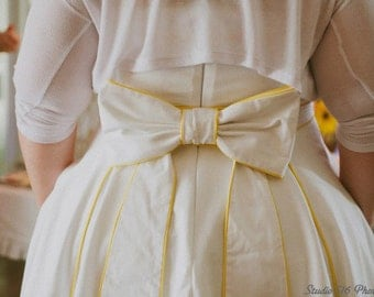 """Short Cotton Rockabilly Wedding w Piping and Bow""""Tesoro"""" Dress-----------------FULL BONING and padded cups"""