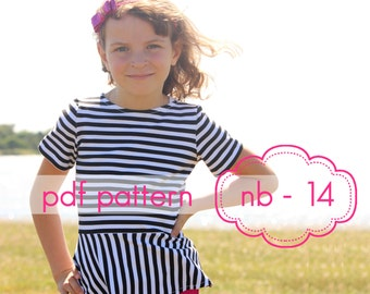 Girls Peplum Top - INSTANT DOWNLOAD - nb through 14 + doll - pdf sewing pattern