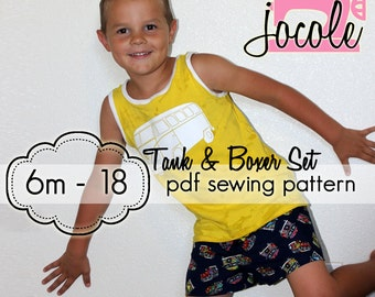 Boy Boxers & Tank Set - INSTANT download - pdf sewing pattern - 6m through 18