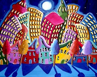 Fun Funky City Neighborhood Cityscape Colorful Whimsical Folk Art Original Painting