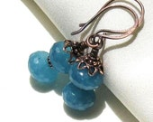Blue Angelite Earrings, Antique Copper Handmade Earwires, Gemstone Dangle Earrings, Blue Gemstone Jewelry