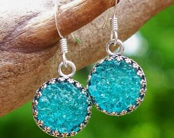 Recycled Mason Jar Druzy Glass Earrings