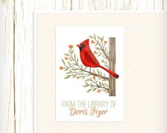 Personalized Bookplates - Cardinal - Set of 18 - kids bookplates red bird