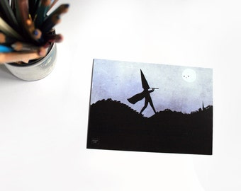 Pied piper of Hamelin - illustrated postcard