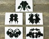 Rorschach Ink Blot Art Greeting Card set of 5