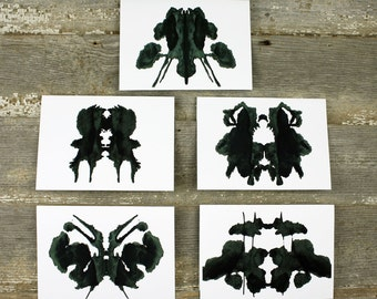 Psychologist Gift RorschachTest Inkblot Art Greeting Card set of 5