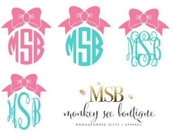 Solid Custom Monogrammed Preppy Bow Vinyl Decal in Assorted Size Options