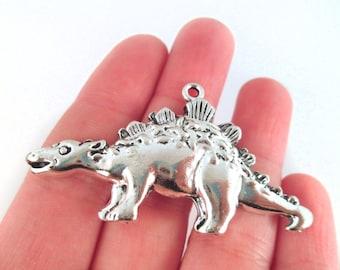 Stegosaurus Dinosaur Pendant Charms, Silver Plated, 57x32, Pick Your Amount, D117
