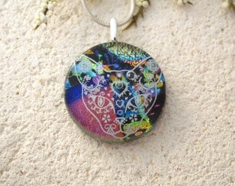 Cat Sugar Skull Necklace, Day of Dead Jewelry, Skeleton Muerte, Dichroic Glass Jewelry, Fused Glass Jewelry, Dichroic Necklace 021215p106