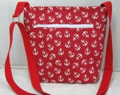 Cross Body Purse Anchors - Hip Bag Red - Nautical Sling Bag - Over the Shoulder Tote - Adjustable Strap