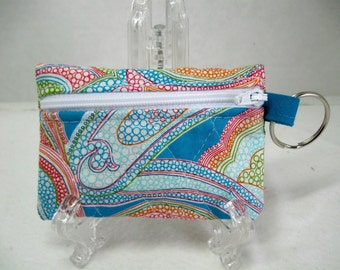 Quilted Paisley Coin Purse -Paisley Change Purse - Small Zippered Pouch - Turquoise Orange Pink - Ear Bud Case