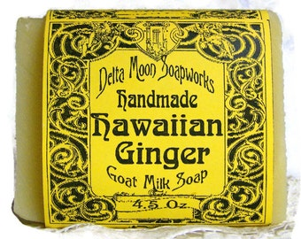Hawaiian Ginger Goat Milk Soap, ready to ship, macadamia oil,  vitamin rich soap, white ginger soap, Cold Process soap, gently scented soap