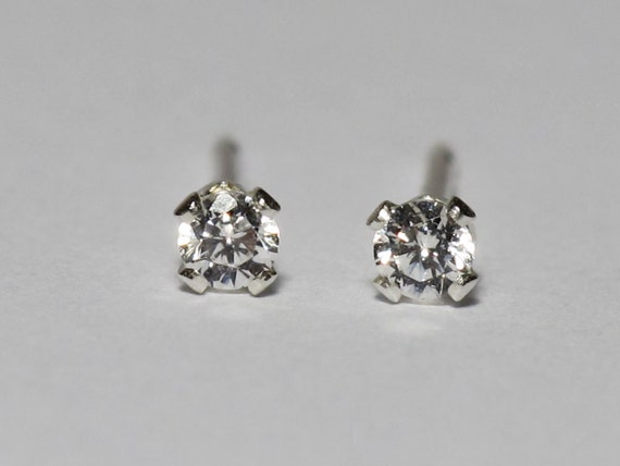2mm Tiny Sterling Silver Stud Earrings with Cubic Zirconia : Faceted Clear CZ Posts Diamond Simulant Simple Minimalist Everyday Earrings