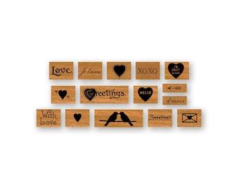 Cavallini Love Valentines day Mini Rubber Stamp Set rubber stamps