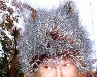 Furry Wolf Hat Ears Brown Black Gray Feather Fur Spike Adult Coyote Costume Fetish Ear Wig Fur Shaman Hat