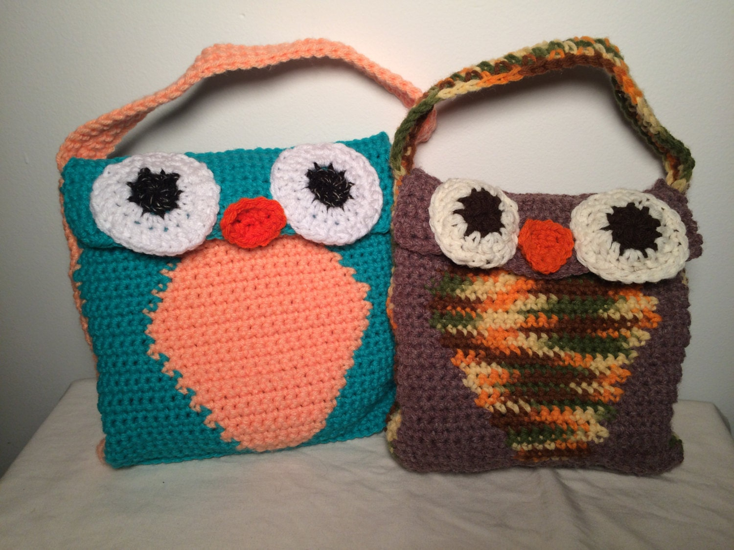 Crochet Lunch Bag Pattern : Crochet Owl Lunch Bag Pattern by hippiescreations on Etsy