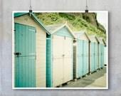 Beach Photography - Duck egg blue and white beach huts English seaside - 10x8 16x20 22x26 inch photograph photo fine big print poster