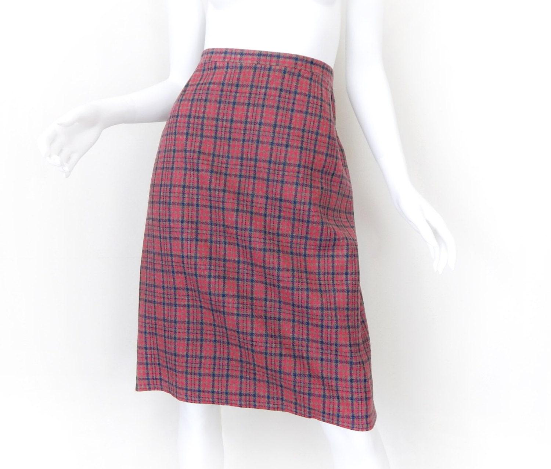 vintage plaid wool pencil skirt ladylike pink and blue