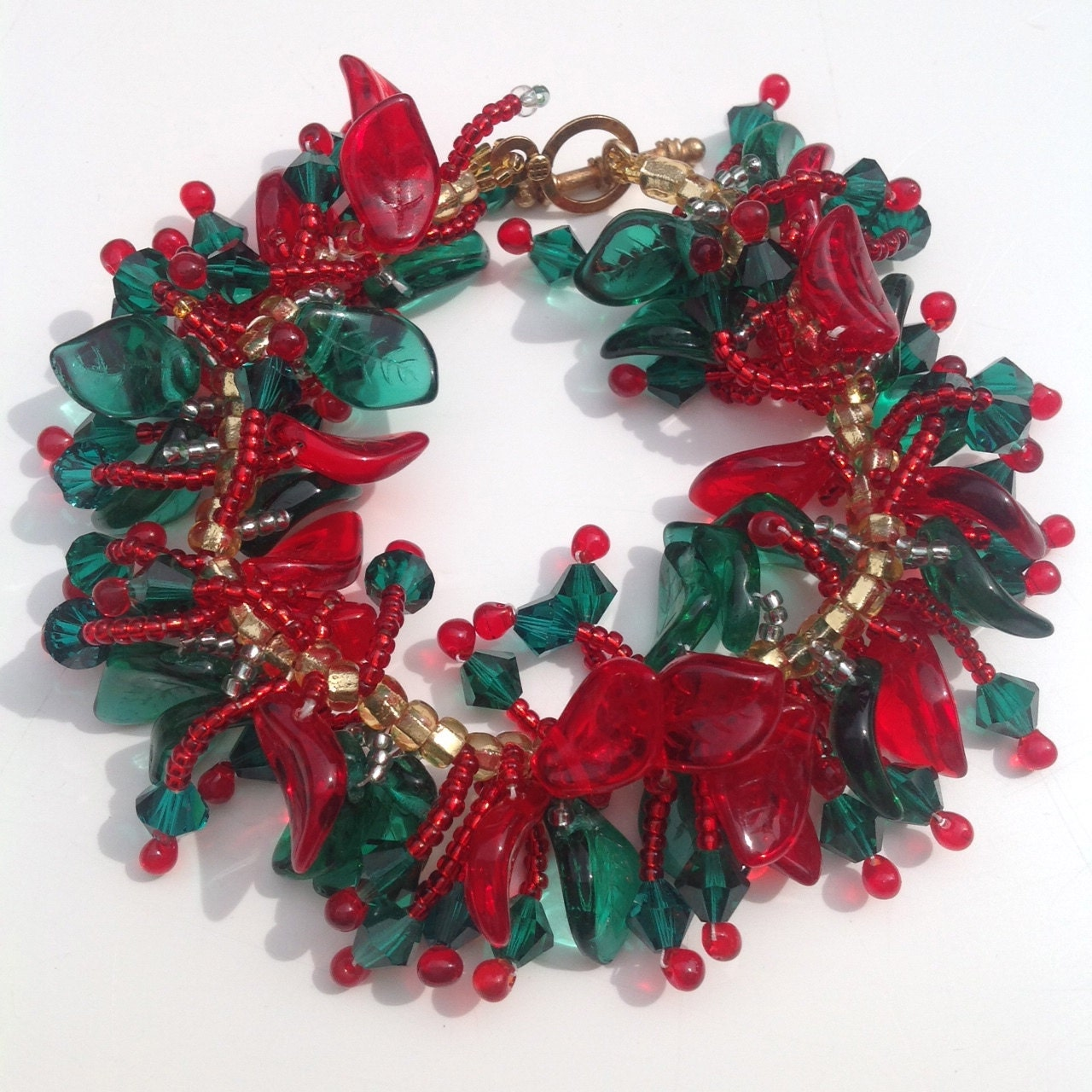 Christmas bracelet holly beaded braceletczech glass