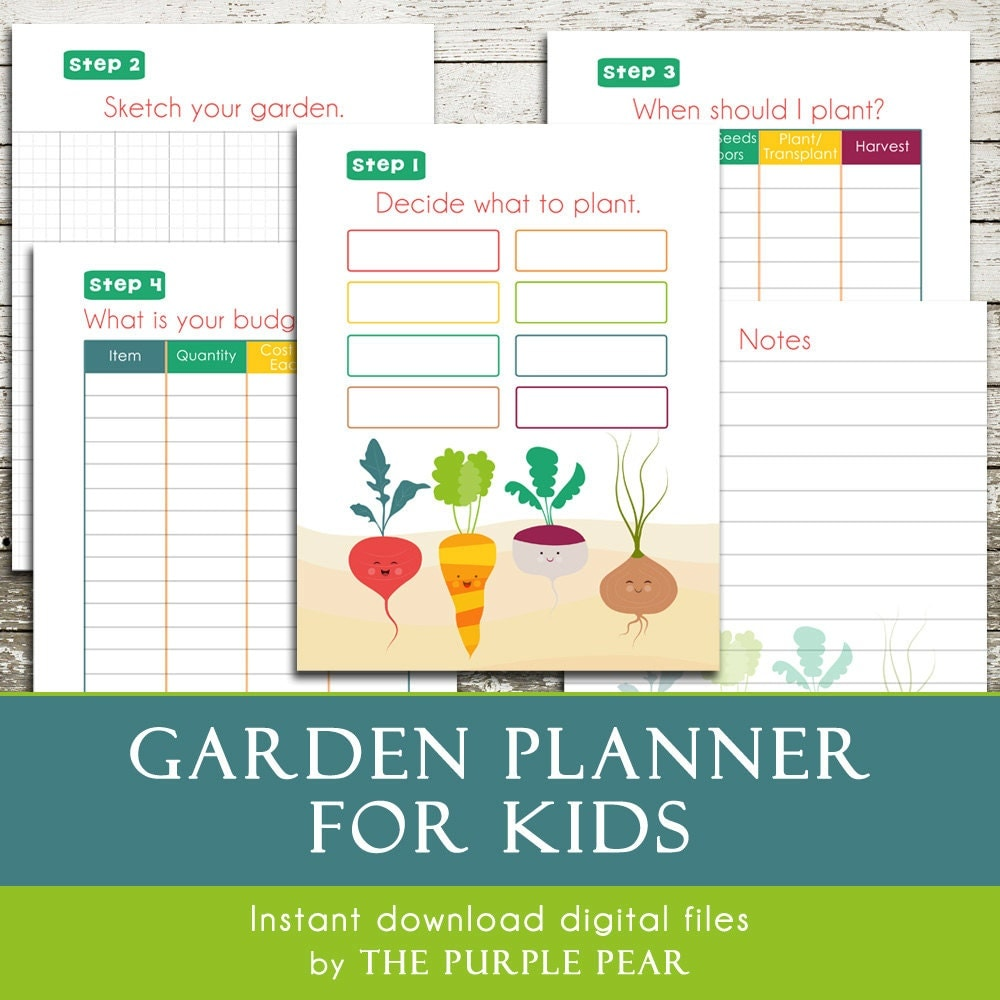 Printable garden planner for kids plan your by thepurplepear for Garden planner 3