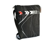 Hip Zip Purse - Cell Phone pocket inside and slip pocket outside - Cross Body Bag - Borsa Bella - Black Star Trails Fabric