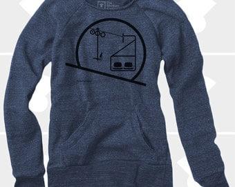Downhill Skiing Snowboarding Shirt, Women's Chairlift Sweatshirt, Eames Chair, Utah, Colorado, Mountains, Ski Gifts, Gift for Women