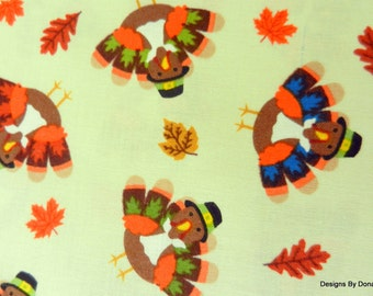 One Forth Yard Cut Quilt Fabric, Cute Colorful Thanksgiving Turkeys in Hats, Fall Leaves from Timeless Treasures, Quilting & Sewing Supplies
