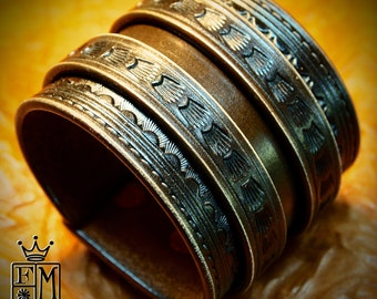 Leather Wrist Cuff Traditional American Brown wristband COWBOY Rockstar Vintage Old West Bracelet Handmade for YOU in NYC by Freddie Matara!
