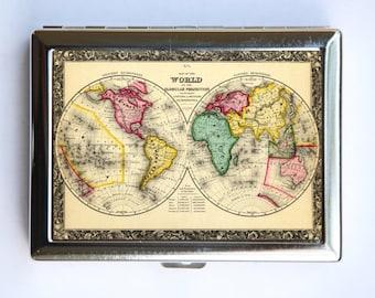 World Map Cigarette Case Wallet Business Card Holder id case atlas map