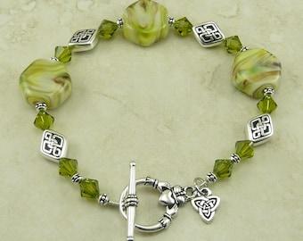 Luck of the Irish Claddagh Celtic Knot Lampwork Bead & Swarovski Crystal Bracelet > Green St Patricks Day Silver - I ship Internationally
