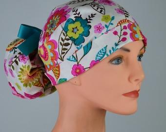 Scrub Hats // Scrub Caps // Scrub Hats for Women // The Hat Cottage // Ponytail // Vintage Blooms
