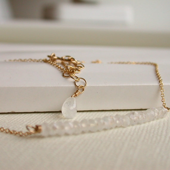 Moonstone Row Necklace. Gemstone Necklace. Row Necklace.
