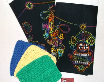Mexican Kitchen//Sugar Skull Towels//Dia De Los Muertos//Day of the Dead//Crochet Wash Clothes//Cocina