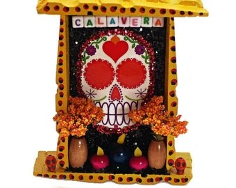 Dia De Los Muertos, Sugar Skull, Mexican Wood Nicho, Day of the Dead Decor, Mexican Kitsch, Mexican Folk Art, Sugar Skull Nicho, Wood Nicho