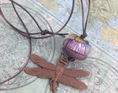 Iridescent Dragonfly- Lampwork glass and bronze necklace