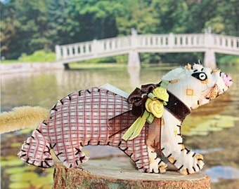 Woodland Wonders - Fuzzy Tail Calico Ferret - Browns and Roses - OOAK, Ornament, Novelty, Folk Art