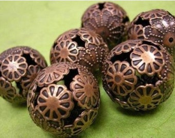 4pc 20mm antique copper finish hollow flower bead-1607