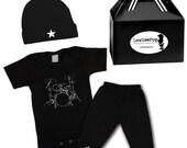 Drums Punk Rock Baby Boy Rockstar Kit black romper one piece layette Pants hat