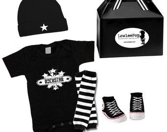 Baby Punk Rock Gift Set - Vintage Rockstar Onesie, hat, Sneaker booties & leg warmers Kit