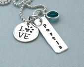 Love Paw Charm and Personalized Tag Necklace - Sterling Silver - Dog Lover Gift - Paw Print Necklace - Birthstone Necklace