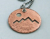 Hiker's Necklace - Copper Pendant on Sterling Silver Chain - The Mountains Are Calling and I Must Go