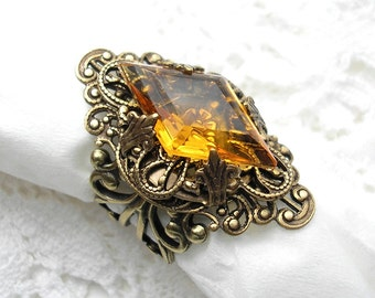 Golden Topaz Vintage Style Glass and Brass Adjustable Ring