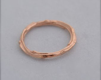 14k Rose Gold Twig Ring Pink Gold Wood Band