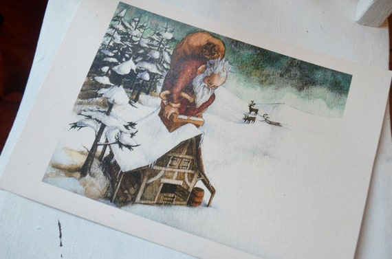 Father Christmas - A4 print on cream card