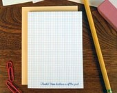 letterpress thanks! your kindness is off the grid paper greeting card grid paper thank you card