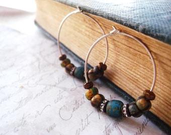 Beaded Hoops, Picasso Beads, Sterling Silver, Hoop Earrings, Bohemian Earrings, Rhinestone Rondelle, Czech Glass, Matte Glass,candies64