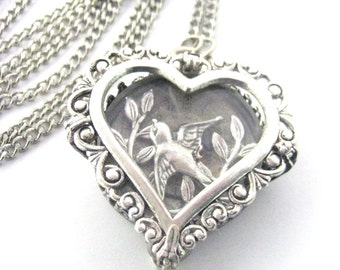 Sparrow Heart Under Glass, Silver  Steampunk Necklace, Steampunk Heart, Steampunk Jewelry, Victorian, Heart, One of a Kind