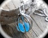 FAUX Sea Glass Necklace, Beach Glass Jewelry - LOVE BIRDS, Cage Locket Jewelry