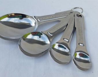 Measuring Spoons Stainless Steel Set of 4 - 1tbsp, 1tsp, 1/2tsp, 1/4tsp